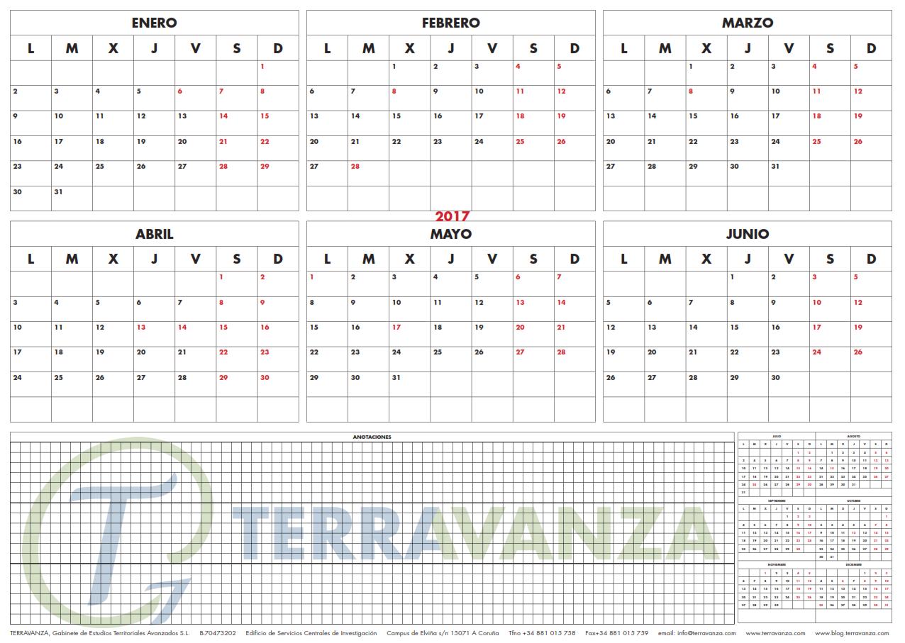 TERRAVANZA - Calendario semestral 2017 - Pincha sobre la imagen para descargar el achivo